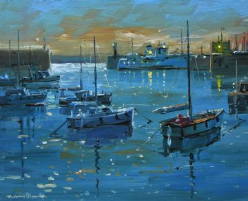 Richard Blowey Original Oil Painting Boats At Penzance